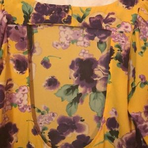 Charlotte Russe Dresses - Charlotte Russe yellow dress with purple flowers